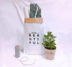 You are beautiful small storage paper bag,paper storage bag,paper bag,toy storage bag,cute storage bag,clothes storage bag,storage,organize by CookieboxStore on Etsy