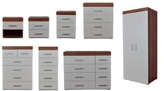 #Bedroom furniture set #wardrobe chest bedside #walnut & white,  View more on the LINK: http://www.zeppy.io/product/gb/2/222126766043/