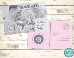 Nautical Save the Date. Sailor's Wheel. Navy and Pink.