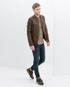 Image 2 of FAUX LEATHER JACKET WITH PADDED SHOULDERS from Zara