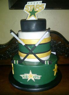 I was lucky (and very honored) to make this cake for our local hockey team's end of the season party. Couldn't believe it when I was asked and couldn't pass it up! It's got both chocolate and vanilla cakes with vanilla buttercream all covered in. Hockey Stuff, Hockey Mom, Hockey Teams, Sports Birthday Cakes, Hockey Cakes, Chocolate And Vanilla Cake, Hockey Party, Stars Hockey, Star Cakes