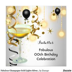 Shop Fabulous Champagne Gold Lights Silver Party Invitation created by Zizzago. Adult Birthday Party, Birthday Celebration, Gold Light, Create Your Own Invitations, Zazzle Invitations, Birthday Party Invitations, White Envelopes, Paper Design, Champagne