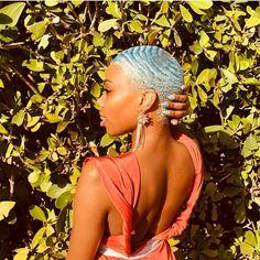Image may contain: 1 person, flower and outdoor Natural Hair Short Cuts, Short Natural Haircuts, Dyed Natural Hair, Short Hair Cuts, Natural Hair Styles, Funky Haircuts, Bleached Hair, 360 Waves Hair, Waves Haircut