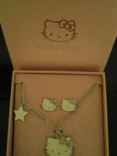 Girls #hello #kitty childrens #necklace and earings set. cream in colour.,  View more on the LINK: http://www.zeppy.io/product/gb/2/111777263536/