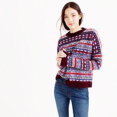 Our designers updated the classic Fair Isle sweater with a slightly more relaxed fit and a pretty palette of colors. One of each, please. <ul><li>Relaxed fit.</li><li>Hits slightly below hip.</li><li>Wool/mohair/nylon.</li><li>Rib trim at neck, cuffs and hem.</li><li>Dry clean.</li><li>Import.</li><li>Online only.</li></ul>