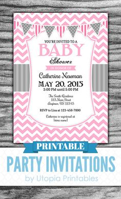 66 best printable baby shower invitations images on pinterest in pink gray baby shower invitation girl chevron party modern contemporary theme digital printable customized 5x7 grey white filmwisefo