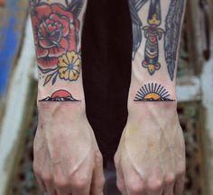 """neotattooart: """"Matching sunsets. Tattoo artist: Patryk Hilton """""""