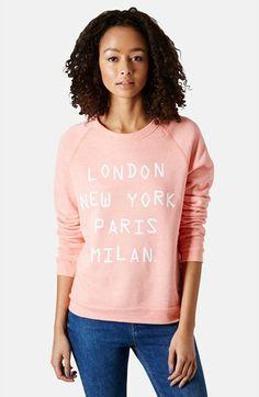 Topshop 'Cities' Graphic Raglan Sleeve Sweatshirt | Nordstrom