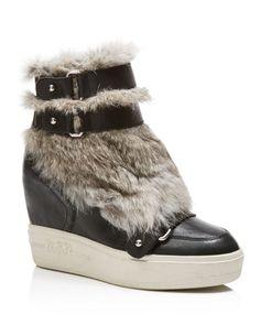 Ash Rabbit Fur Wedge Sneakers