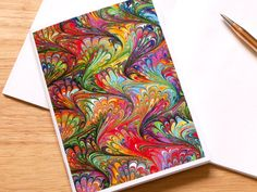 Marbled Paper Design Notebook no.17, Small Diary, Travel Notebook, Mini Journal, Jotter, Rainbow Colors, Eco-Friendly