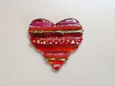 Fused Glass Heart With Dichroic Accents - by Janet Ballard