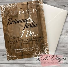 Rustic Country Chic Wedding Invites  by RMDesignsStore on Etsy