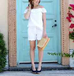 all white outfit inspiration... scalloped shorts // the modern savvy, a life & style blog