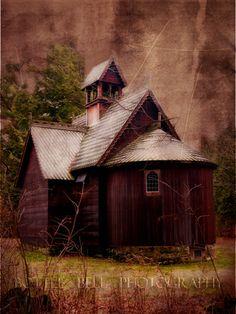 abandoned church along the shores of Lake Michigan.