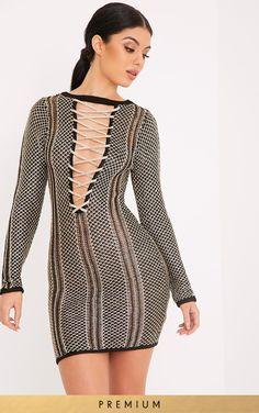 214e27b9fd Venita Premium Metallic Black Knit Lace Up Mini Dress Daily Dress