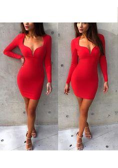 Red Plain Plunging Neckline Fashion Mini Dress