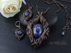 RESERVED Wire Wrapped Sodalite Necklace and by MyWillowGems