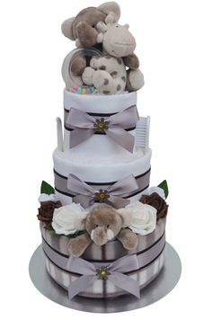 Stunning 3 Tier Neutral Silver Themed Nappy Cake with the loveable Elli & Raff!!