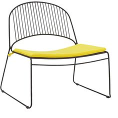 humpback matte black lounge chair with yellow seat cushion | CB2