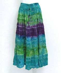 Another great find on #zulily! Green & Purple Tie-Dye Ribbon Maxi Skirt #zulilyfinds