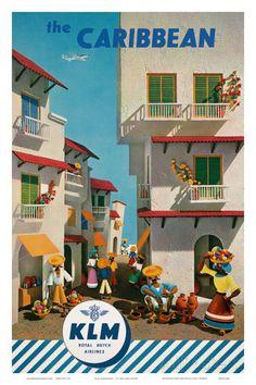 KLM Royal Dutch Airlines: The Caribbean, c.1960s Posters van J.F. Van Der Leeuw bij AllPosters.nl