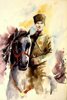 ATATÜRK. - Ressam Rezzan Yıldız Oil Painting Pictures, Pictures To Paint, Soldier Drawing, The Legend Of Heroes, Fathers Love, Caricature, Watercolor Paintings, Watercolour, Design Art