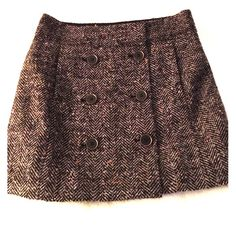 NWOT! Loft Tweed Skirt Ann Taylor Loft tweed skirt. Six Buttons on front with snap closure.  Never Worn. Ann Taylor Loft Skirts Midi