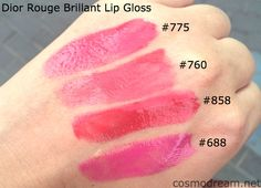 новые блески диор свотчи Dior Rouge Brillant Lip Gloss swatches 688 hollywood 760 times square 775 darling 858 royale