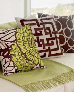 """""""Deco"""" Embroidered Pillows at Horchow."""