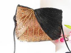 Beaded Evening Bag Vintage Beaded Bag Copper and Black