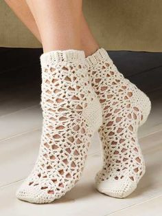 Picot Shell Socks Crochet Pattern Download from e-PatternsCentral.com -- After working the ribbing first, these light, airy socks are worked from the top down in the round in a repeating lace pattern for the body and single crochet for the heel and toe.