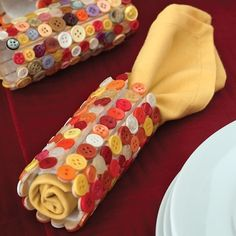 Button Indian Corn Napkin Rings ...Or just for cute button napkin rings in fall colors... Cut toilet paper rolls in half. Cover with fall colored buttons...