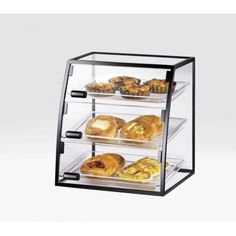 Self Serve Iron Display Case Item:1708-1014 (10x 14 Trays) 1708-1318 (13x 18 Trays). This self serve bakery display case features a  Iron frame that will complement any bakery, coffee shop, or market. With its curved front with 3 doors, this bakery display case is also ideal for self service stations at your cafeteria or hotel breakfast bar. If you are looking for a way to dress up your baked goods, you cannot go wrong with this case. It will sure attract your cu