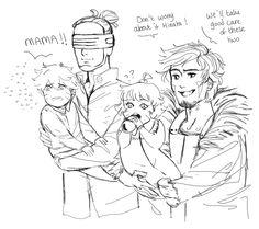 Uncles Kiba and Shino. The fear in that child's eye though....