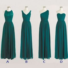 Best Sale Cheap Simple Mismatched Chiffon Formal Long Teal Green Bridesmaid Dresses, WG183