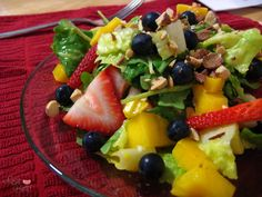 Mango Berry Salad with mango yogurt dressing (Zupas knock off)