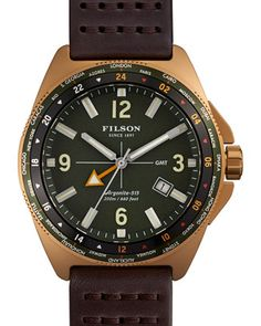 44mm Journeyman GMT Watch with Leather Strap, Brown/Green by Filson at Neiman Marcus.