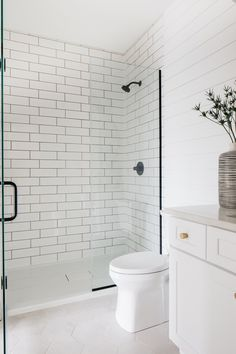 Shiplap Bathroom wall with large subway tile shower with charcoal grout Bathroom Ideas Shiplap Bathroom wall with large subway tile shower with charcoal grout Bathroom Shiplap Bathroom wall with large subway tile shower with charcoal grout #ShiplapBathroom #largesubwaytile #shower #charcoalgrout Shiplap Bathroom Wall, White Subway Tile Bathroom, Subway Tile Showers, Subway Tile Kitchen, Master Bathroom, Bathroom Colors Gray, White Shower, Upstairs Bathrooms, Ship Lap Walls