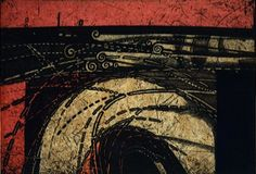 24.7x36cm, copperplate print with chine collé (etching) - HAYASHI Takahiko, 1992.