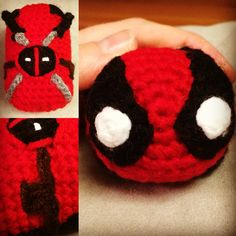 Deadpool tsum tsum.   Crochet  By:Off the hook knits and crochets