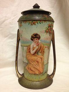 RARE Antique Victory V Gums Lozenges Tin Store Advertising Urn Art Nouveau Deco | eBay