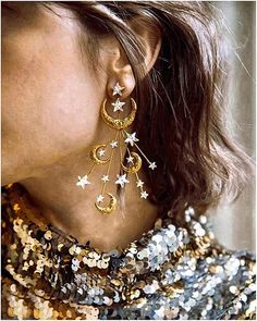Star Moon Earrings Bar Stud Earrings, Moon Earrings, Moon And Star Ring, Betsey Johnson Earrings, Ear Crawler Earrings, Front Back Earrings, Rainbow Quartz, Crystal Jewelry, Moon Jewelry