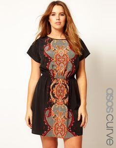 ASOS CURVE Exclusive Skater Dress With Baroque Print  $56.29