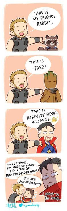 Infinity beer wizard || Avengers Infinity War || Thor, Rocket, Groot, Dr. Strange, Spider-Man || Cr: 澈(Che)