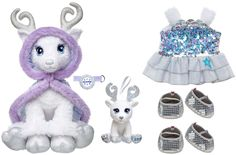 New Build a Bear Glisten 16 inch White Reindeer Doe Signature Cape Sequin Dress Shoes Tree Ornament Set Light Up Antlers In Stock Now at http://www.bonanza.com/booths/TweetToyShop