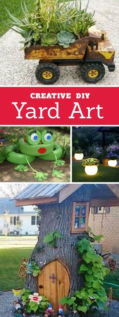 DIY Yard Art and Garden Ideas! Creative ways to add color and joy to a garden, porch, or yard. Repurposed bikes, toys, tires and other fun junk. art ideas creative DIY Yard Art and Garden Ideas Diy Garden, Garden Crafts, Garden Projects, Garden Art, Garden Landscaping, Garden Design, Landscaping Ideas, Backyard Ideas, Garden Planters