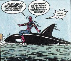 Hawkeye rides a whale