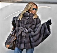 2015 MILANO GRAPHITE SUPERIOR SAGA MINK FUR PONCHO CLAS OF JACKET COAT SABLE FOX in Clothes, Shoes & Accessories, Women's Clothing, Coats & Jackets | eBay