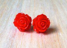 Boucles d'oreille Saint-Valentin bouton de rose par BoutiqueAnnik