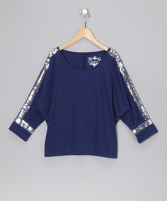 Take a look at this Navy Sequin Dolman Top - Girls by Pretty Much Perfect: Tween Apparel on #zulily today!